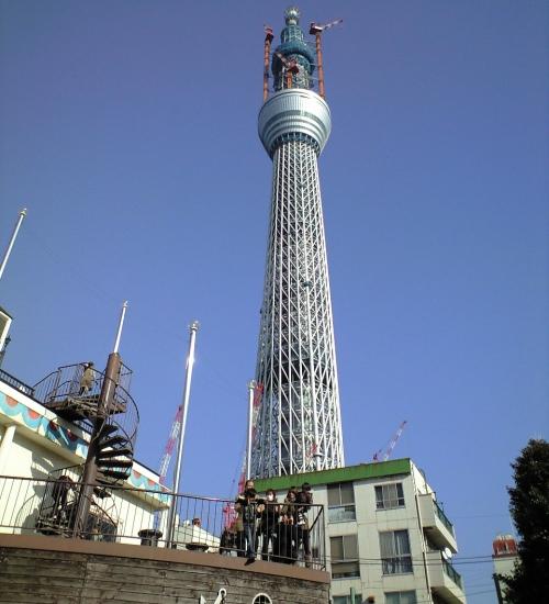 大横川親水公園からの東京スイカイツリー全景